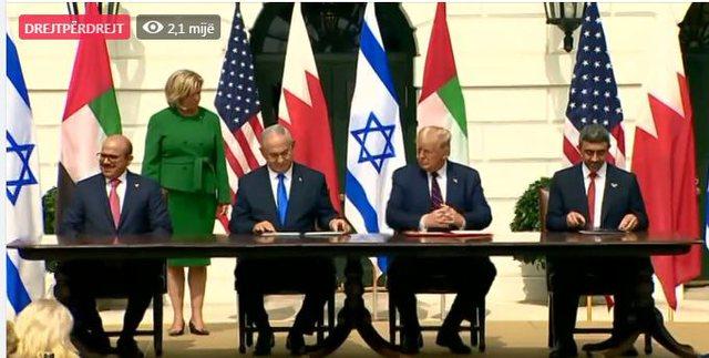 Emiratet, Bahreini dhe Izraeli nënshkruajnë në Shtëpinë