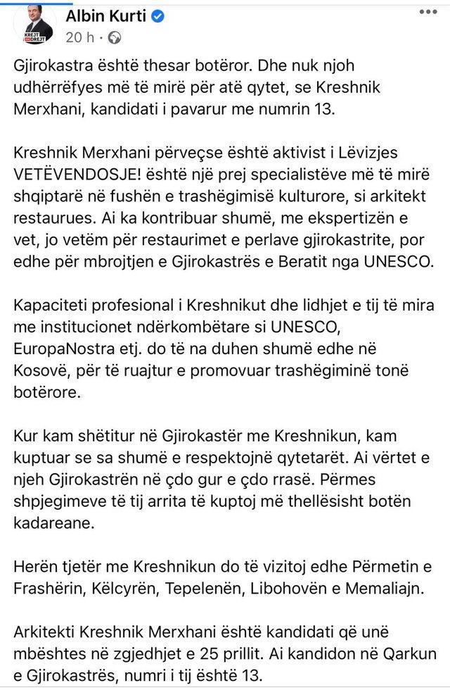 Albin Kurti bën thirrje të votohet nr.13, qytetarët