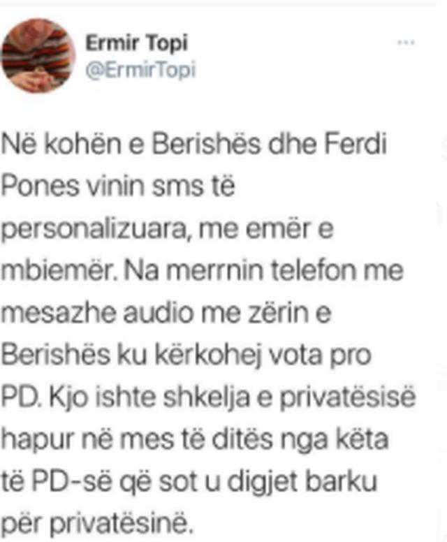 Ermir Topi: Në kohën e Berishës vinin mesazhe me zë për