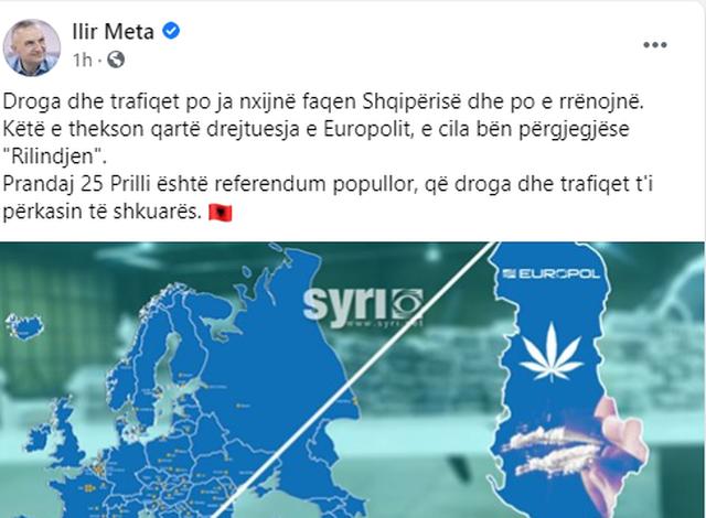 Meta: 25 prilli, referendum popullor që droga dhe trafiqet t'i mbeten