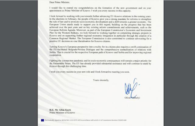 Varhelyi letër Kurtit: Duhet rinisje e dialogut Kosovë-Serbi!