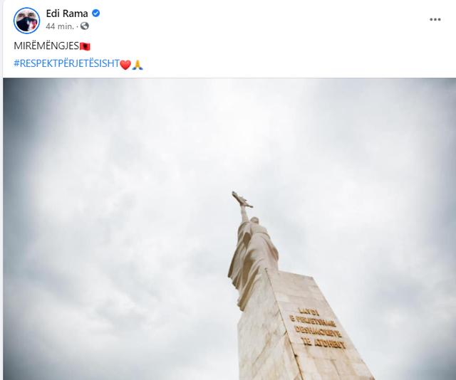Rama: Këtë mëngjes shpreh respekt në nder të