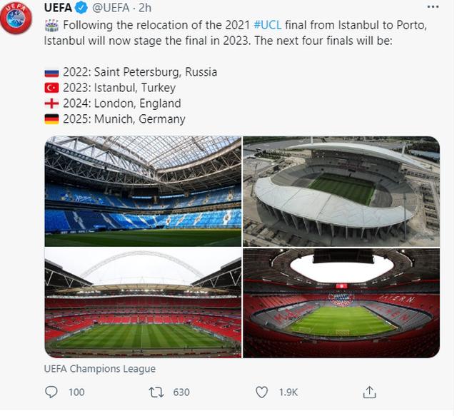 UEFA publikon listën/Ja ku do të luhen finalet e Ligës së