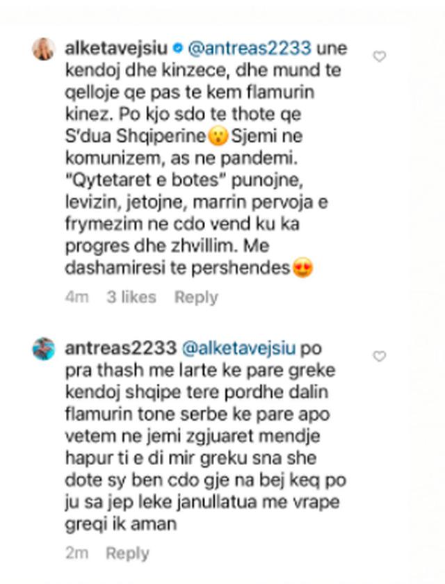 Komenti i çuditshëm në instagramin e Alketa Vejsiut: Spiune e