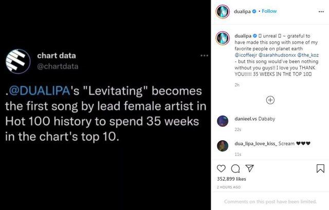 Dua Lipa thyen rekordin, kënga e saj më e dëgjuara në