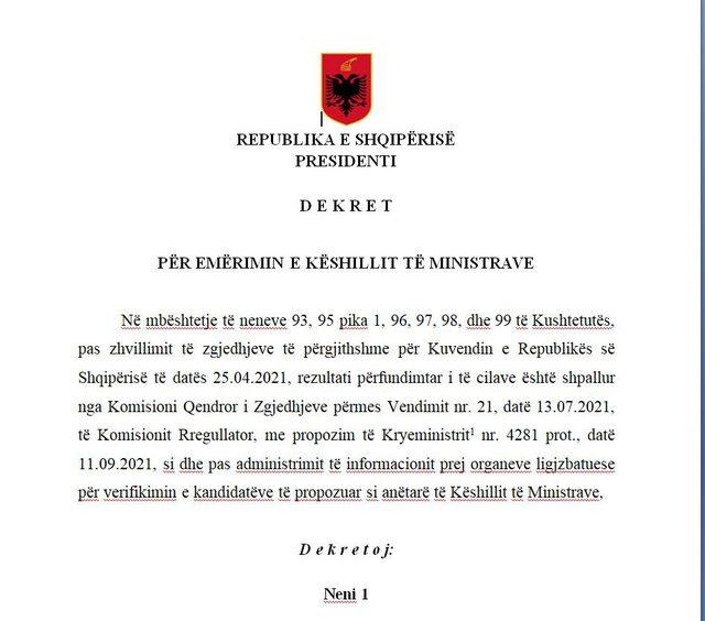 Presidenti Meta dekreton qeverinë e re Rama 3