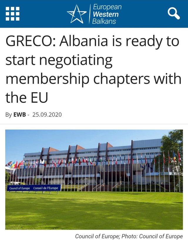 GRECO: Shqipëria e gatshme të fillojë negocimin e kapitujve