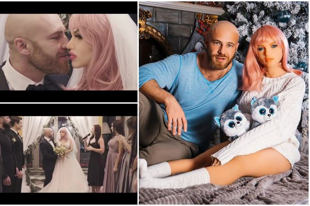 Edhe kjo nuk ishte parë/ Bodybuilder-i martohet me kukullën e seksit:
