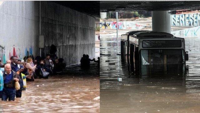 """VIDEO/ Moti i keq """"pushton"""" Greqinë, autobusi fundoset nën"""