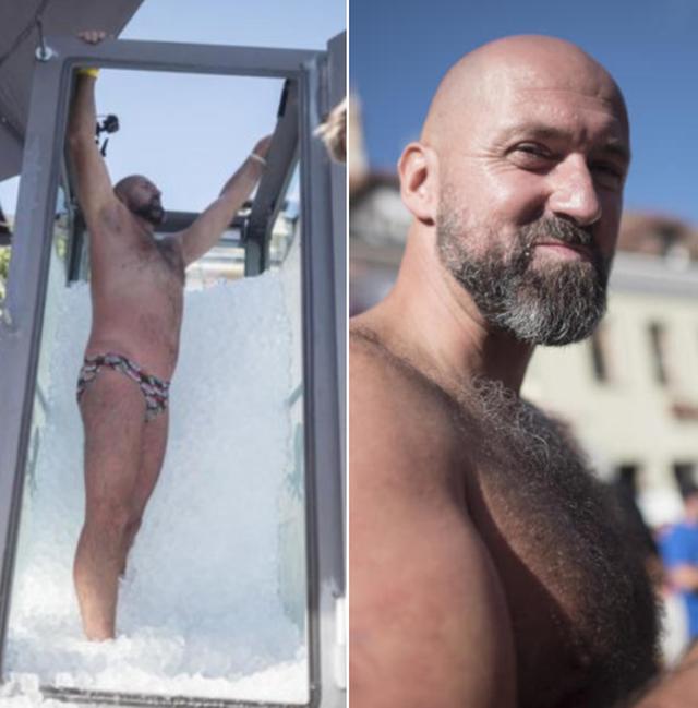 Burri thyen rekordin botëror, në akull për 2 orë e 57