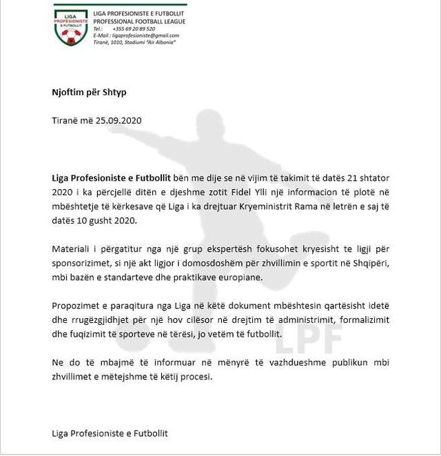 As këtë javë s'ka futboll, Liga i dërgon Ramës