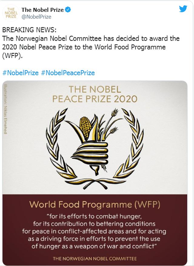 Programi Botëror i Ushqimit të OKB-së merr Çmimin Nobel