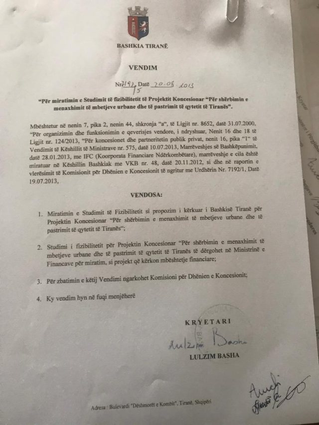 Dokumentet/ Prova që fundosi Bashën, firmosi t'ia jepte plehrat