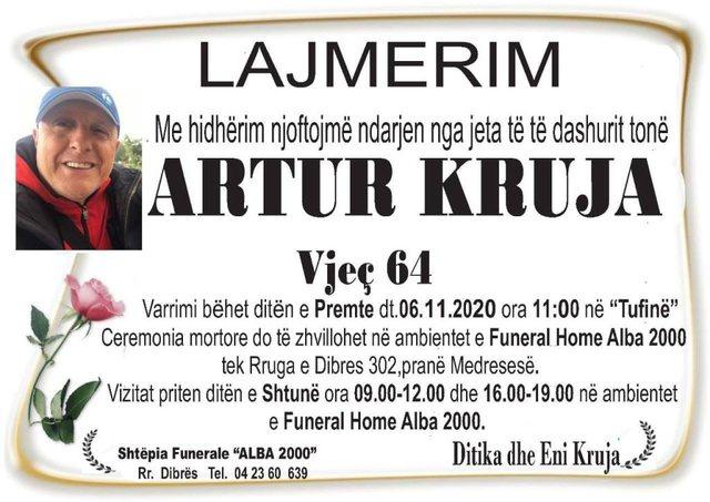 """""""Lamtumirë shoku ynë, muzikant i talentuar"""", Artur Kruja"""