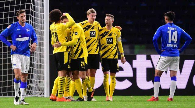 Dortmund shkatërron Herthan 5-2, super Haaland realizon poker golash