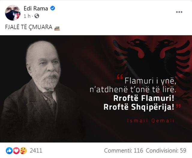 """""""Rroftë Flamuri! Rroftë Shqipëria!"""", Rama e nis"""