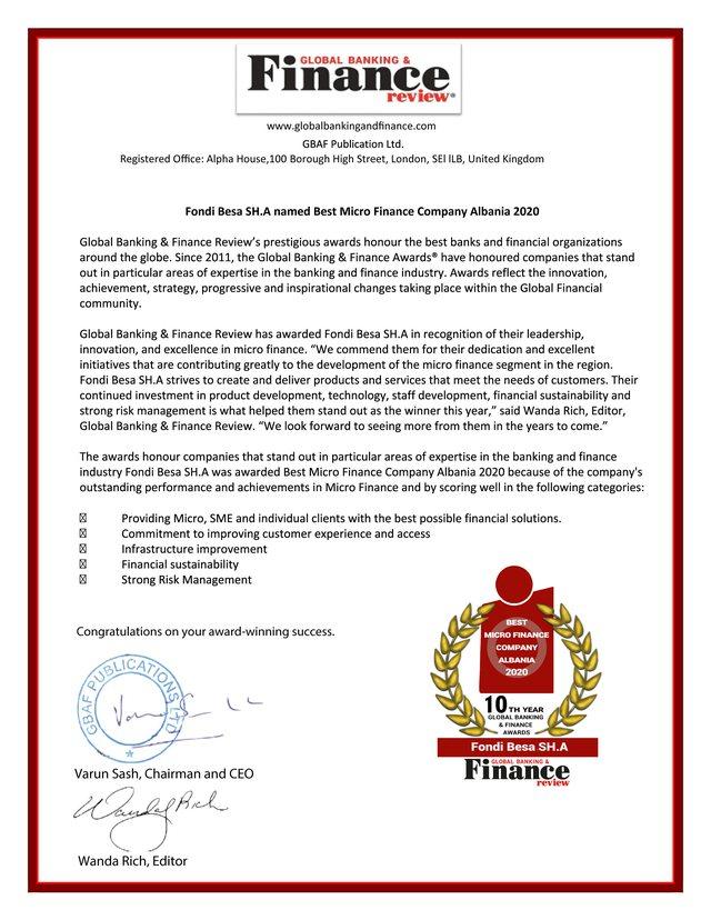 Fondi BESA nderohet me çmimin e Kompanisë më të Mirë