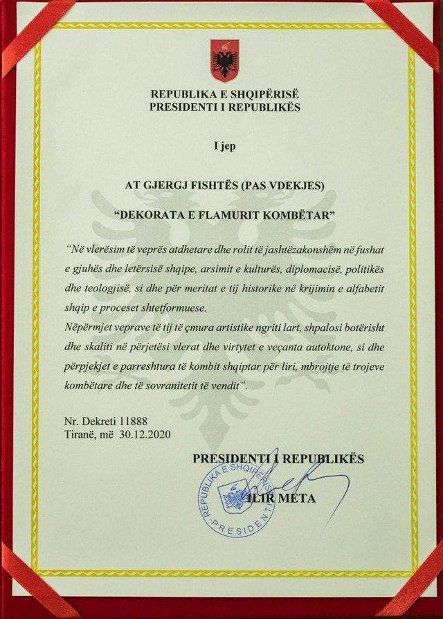 Në 80-vjetorin e vdekjes/ Presidenti vlerëson me Dekoratën