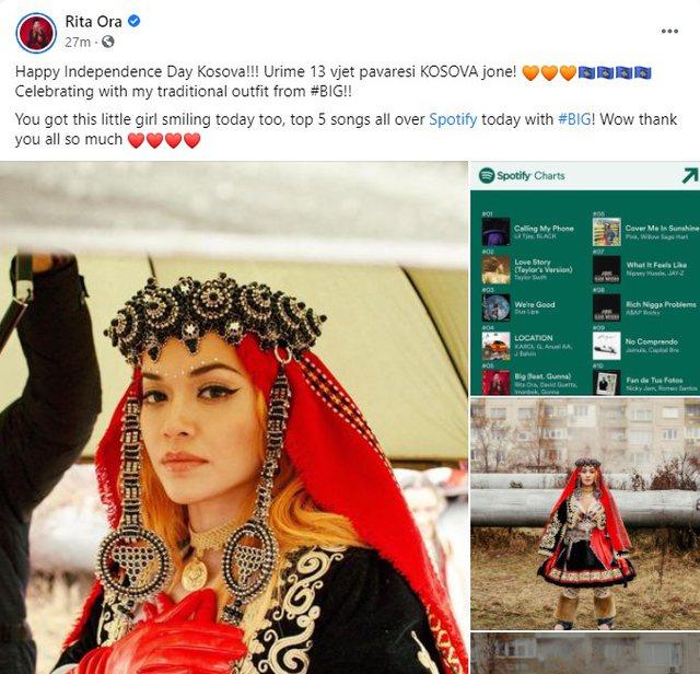 Rita Ora flet shqip/ Uron Pavarësinë e Kosovës me veshje