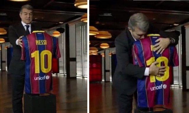 Laporta si Padrino, i jep puthje 'Messi-t': Do të të