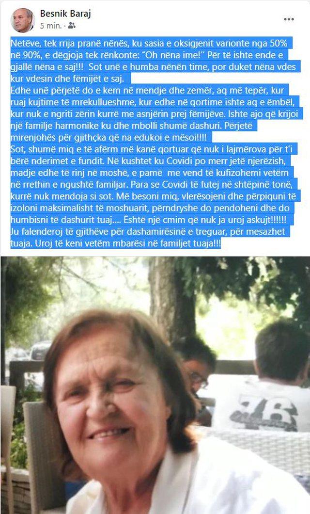 """""""Oh nëna ime!'/ Deputeti socialist shkruan për humbjen e"""