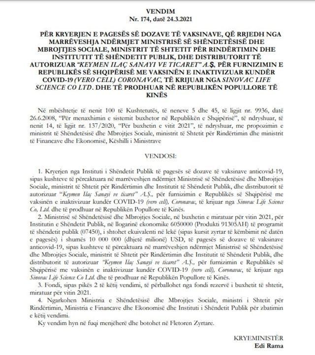 Shqipëria paguan 10 mln dollarë për vaksinat kineze