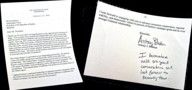 Letra personale/ Sekretari amerikan Blinken i kërkon Vuçiçit