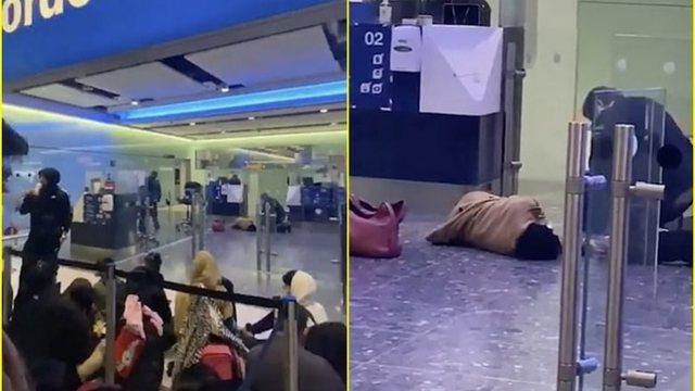 7 orë në radhë në aeroport, pasagjeres i bie të