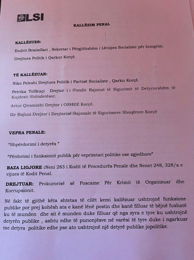 Dokumenti/ LSI  kallëzon në SPAK ministrin Peleshi dhe 3