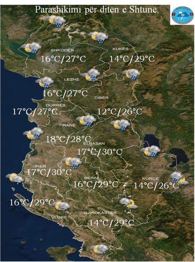 PARASHIKIMI/ Temperatura deri në 30 gradë dhe reshje shiu, si pritet