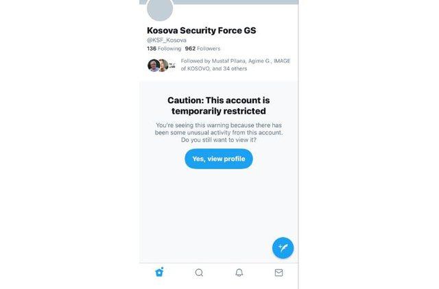 Twitter mbyll llogarinë e ushtrisë së Kosovës