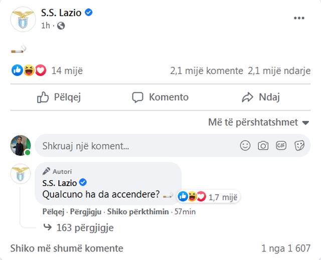 Emoji me cigare/ Lazio zyrtarizon trajnerin e ri me një postim unik: