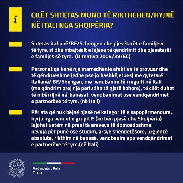 Ambasada jep njoftimin/ Rregullat për udhëtimin drejt Italisë,