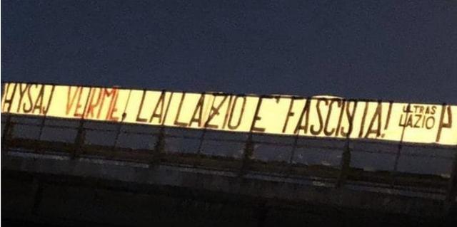 """""""Hysaj krimb, Lazio është fashiste!"""" Shfaqet parrulla"""