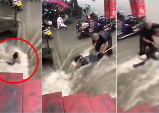 Momenti i tmerrshëm/ E reja shpëtohet mrekullisht nga përmbytjet,