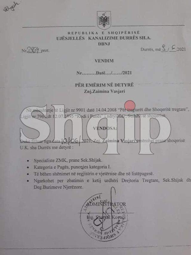 U emërua specialiste në Ujësjellësin e Durrësit,