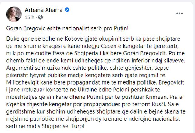 """""""Goran Bregoviç është nacionalist serb pro Putin!""""/"""