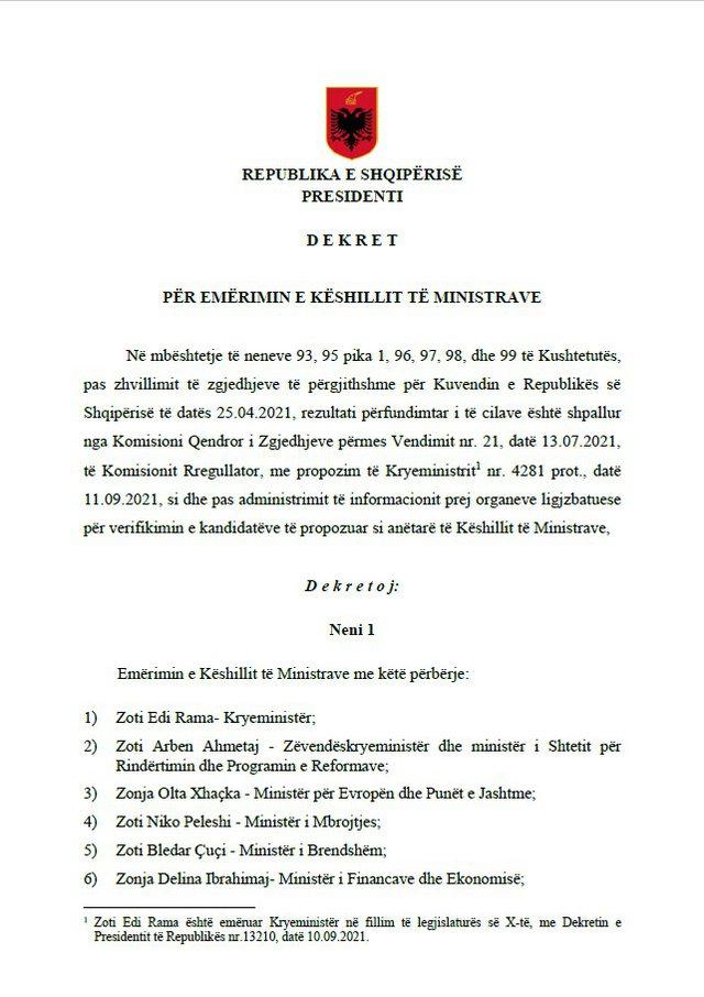 """SPAK bind Ilir Metën, presidenti dekreton qeverinë """"Rama 3"""""""
