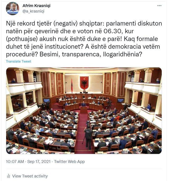 Parlamenti shqiptar arrin rekord! A është demokracia vetëm