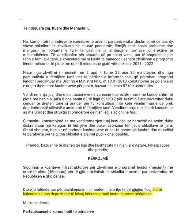 Peticioni/ Prindërit firma kundër mësimit me turne, apeli ndaj
