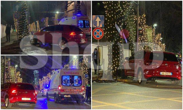 FOTO/ Aksident tek kryeministria, makina përplaset me shtyllën e