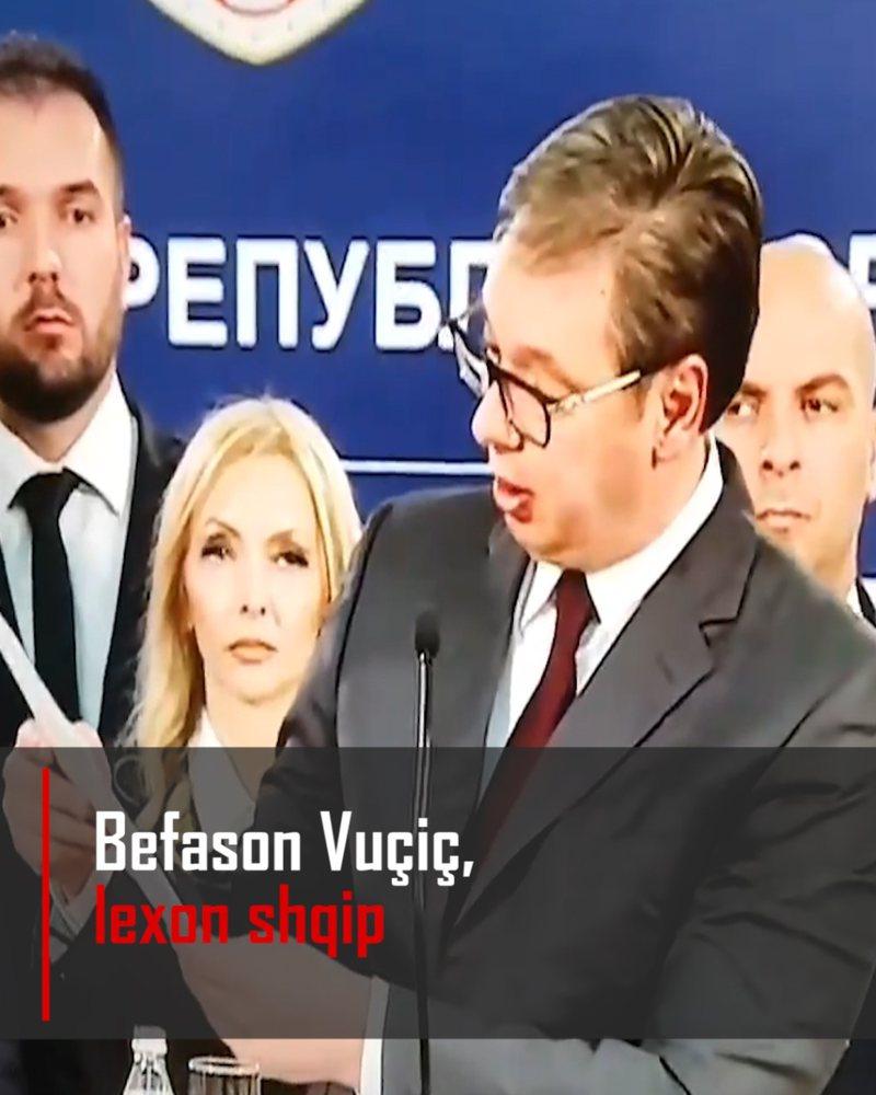 Befason Vuçiç, lexon shqip