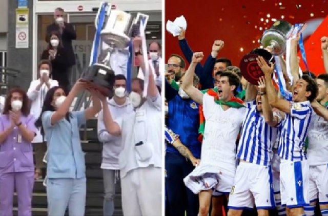 Real Sociedad feston me mjekët në spital Kupën e Mbretit