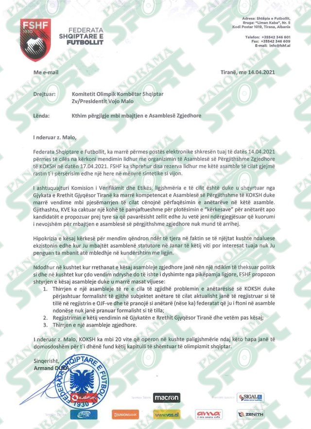 Armando Duka i shkruan letër KOKSH-it: Kërkesat ishin një
