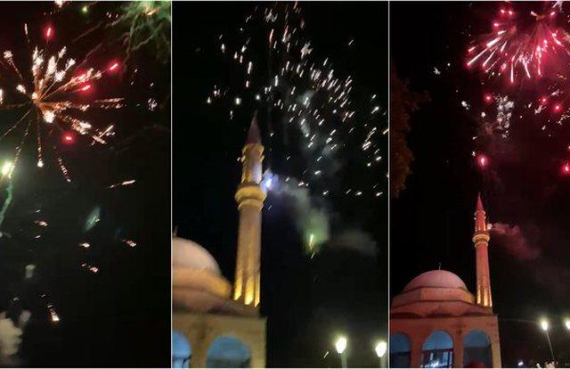 Korçarët festojnë me fishekzjarre përfundimin e Ramazanit
