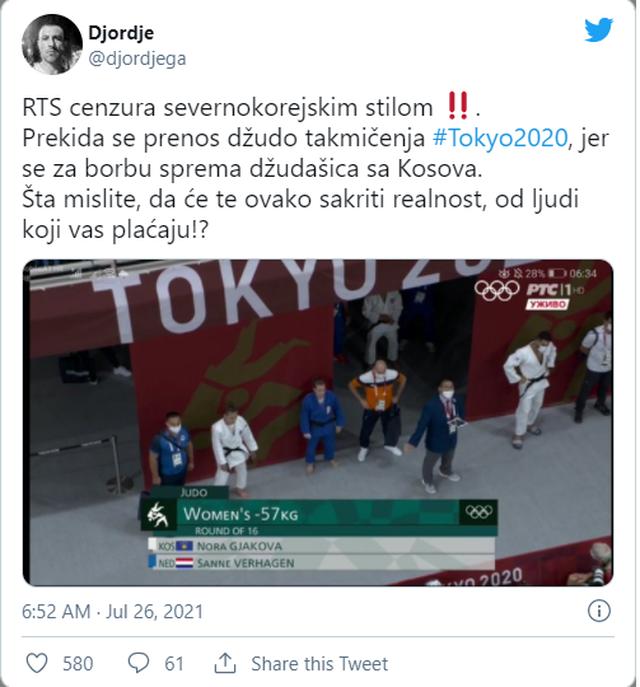 Televizionet serbe shkëpusin momentin kur Nora Gjakova fitoi ne Tokio 2020,