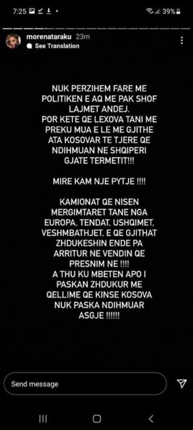 """""""Të parët erdhën serbët"""", Morena Taraku e"""