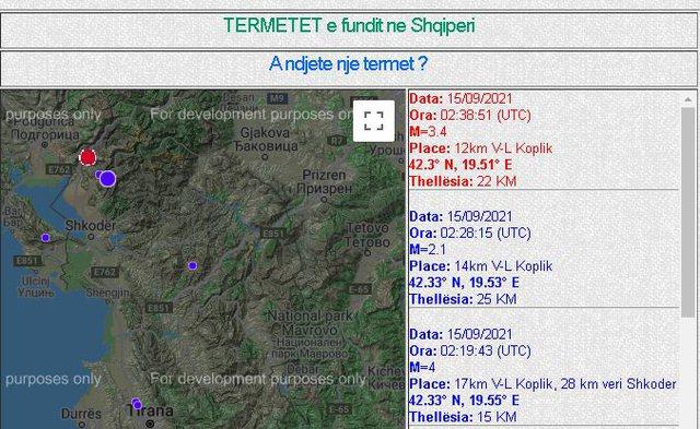 Tre lëkundje tërmetesh të njëpasnjëshme
