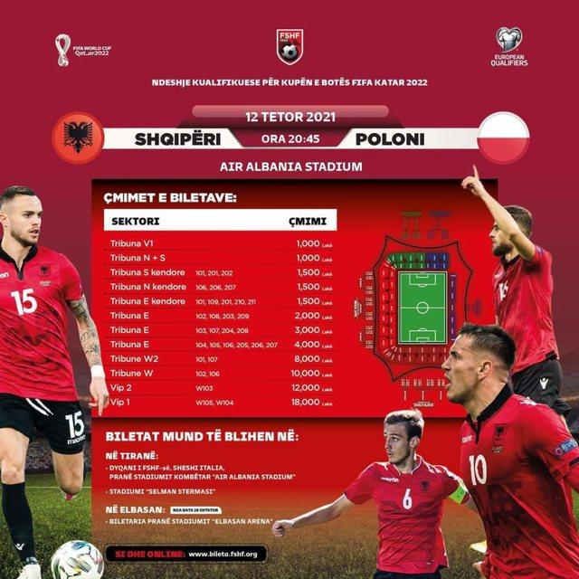 FOTO/ Publikohen çmimet e biletave për ndeshjen Shqipëri-Poloni