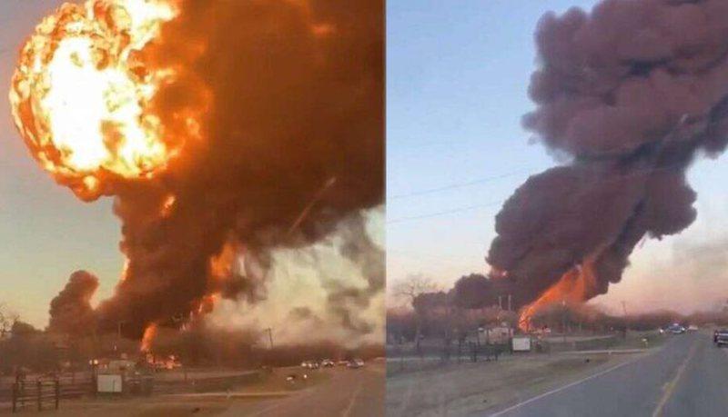 Shpërthim i frikshëm në Teksas, treni i ngarkuar me cisterna
